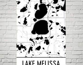 Lake Melissa Minnesota, Lake Melissa MN, Minnesota Map, Minnesota Decor, Lake Map, Melissa Lake Art, Art, Lake House Decor, Melissa MN