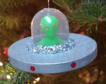 Alien Space Ship Ornament,Glow in the Dark,Sci Fi Ornament,Wood, Alien Decoration, Space Ship w Alien Ornament, Christmas Tree Ornament