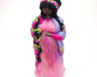 Pregnant mother, waldorf needle felted waldorf figure, baby shower present
