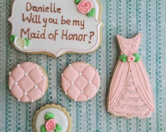 Decorated cookies will you be my bridesmaid cookies gift set wedding cookies bridal shower cookies