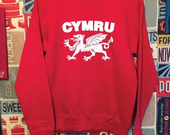 Cymru Sweatshirt. Welsh Dragon Sweatshirt. Unisex Welsh Sweatshirt. Wales Sweatshirt.