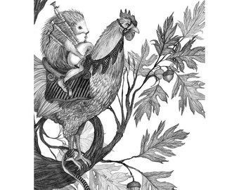 8x10 Giclee print of Brothers Grimm Fairytale Hans My Hedgehog, Black and White version