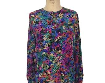 vintage 1980's ESCADA silk blouse / paint splatter novelty print / oversized blouse / designer blouse / women's vintage blouse / tag size 38