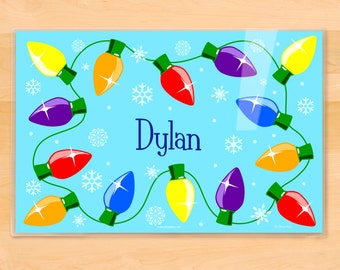 Olive Kids Personalized Holiday Lights Placemat, Kids Placemat, Winter Placemat, Holiday Placemat, Laminated Placemat