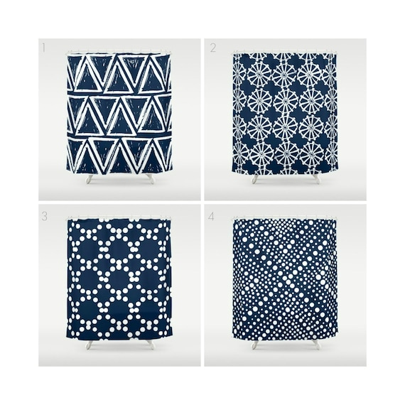 Navy Blue Shower Curtain - Geometric Shower Curtain - Modern Shower Curtain - Shower Curtain - Triangle Shower Curtain - Navy and White
