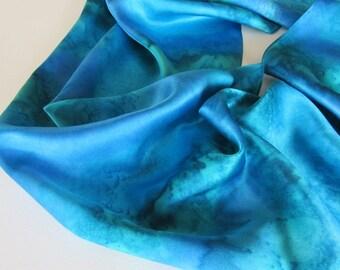 Blue Silk Scarf, Hand Painted Blue Silk Scarf, Blue Scarf, Hand Painted Silk Scarf, Teal Silk Scarf, Blue Scarf, Teal Scarf, Gift For Her