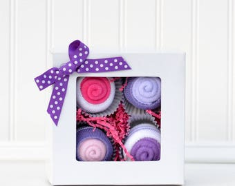 Baby Cupcakes, Baby Girl Cupcakes, New Baby Girl Gift, Baby Shower Gift, Welcome New Baby Gift, Purple Pink Baby Gift Set, Hospital Gift