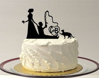 MADE In USA, Personalized Fishing Wedding Cake Topper with Cat, Fishing Themed Wedding Cake Topper, Fishing Topper, Bride Dragging Groom