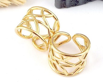 geometric Adjustable ring customize flashed gold 24 k