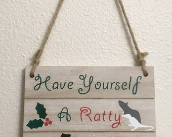 Hand Painted Ratty Christmas Distressed Sign 7x7 Inches