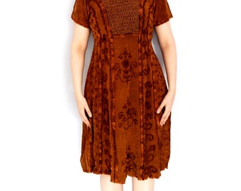 70s Vintage Dress Retro Boho Size - L, 14 (Uk), 10 (US)