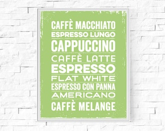 "Printable Coffee Menu Kitchen Print - Wall Art - Digital Word Poster - Contemporary Wall Decor - Instant Download - 8""x10"" and A4."