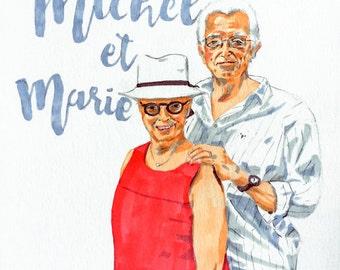 custom portrait portrait couple, portraits, gift, birthday, first names