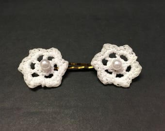 Crochet Flower Hair Pin (set of 2) with Pearl Bead