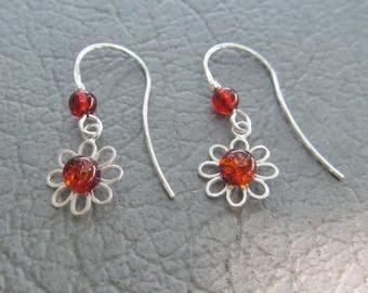 Cognac Amber Daisy earrings