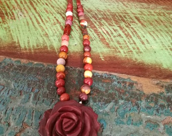 Mookite Rose Necklace, Rose Beaded Necklace,Hand Carved Rose Pendant.