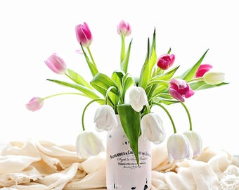 Tulip photograph,shabby chic decor, Fine art print,pastel photograph,floral print,pink,white,still life,square print