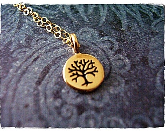 Tiny Gold Rowan Tree Necklace - Bronze Rowan Tree Charm on a Delicate 14kt Gold Filled Cable Chain or Charm Only