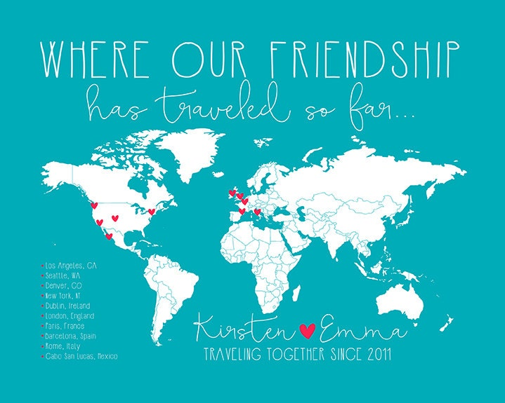 friendship travels places traveled with best friend world or us map custom map art geography world traveler study abroad gifts wf240