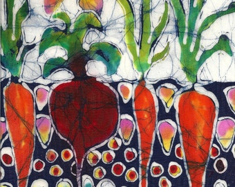 Summer Sun on Garden  - batik matted photo print from original