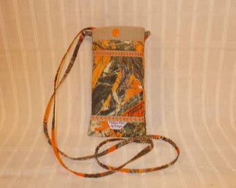 Orange Camouflage Phone Pouch - Free Shipping