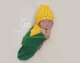 Instant Download Crochet Pattern- No. 80 Sweet Baby Corn Cape Set- Photography Prop