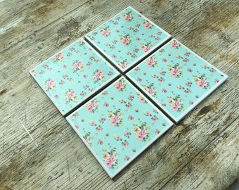 Set of Four Flower Pattern Ceramic Coasters