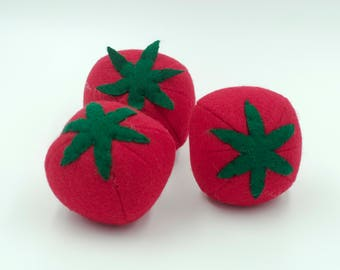 Felt food tomato, Felt play food tomato, Pretend food for play kitchen, Plush toy tomato, Felt vegetable