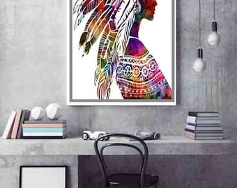 Boho Decor Native American Art Young woman Headdress Wall Decor Native American Print Native American Wall Art