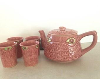 Vintage Pink Cold Tea Set, Cold Tea Set with Dual Lid, Teapot with Reamer Lid,