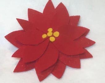 Festive Poinsettia barette