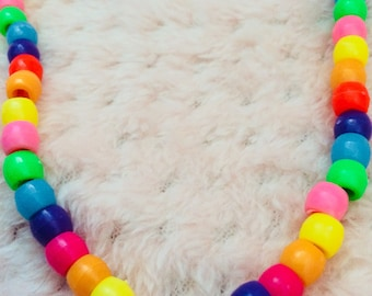 Rainbow Beaded Stackable Necklace/Party Kei