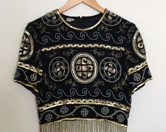 Beautiful Vintage Beaded Crop Top