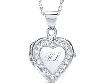 """Personalised Sterling Silver 16""""-18"""" Micro Pave Cz Border 1.7cm Heart Locket"""