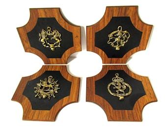 Heraldic Plaques, Wall Hanging Set, Vintage Heraldry Emblems Wall Grouping, Heraldic Lions Griffins Decor, Castle Decor, Fantasy Decor