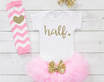 6 Month Photo Outfit Girl 1/2 Birthday Outfit Girl Half Birthday Baby Girl Half Birthday Photo Prop 6 Month Girl Outfit Pink Gold 125S