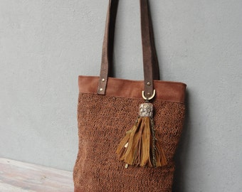 Bohemian Leather Bag, Knitted Leather Tote Bag made with Vintage Kuchi Tassel Charms, Boho Leather Bag