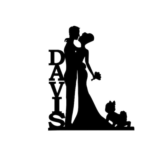 personalized bride and groom silhouette wedding cake topper rh etsy com