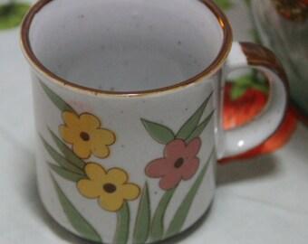 Vintage Stoneware 1970s, Ceramic Coffee Mug, Flower Power