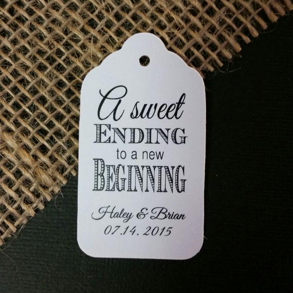 "A Sweet Ending to a new Beginning Choose your quantity SMALL 2"" Favor Tag"