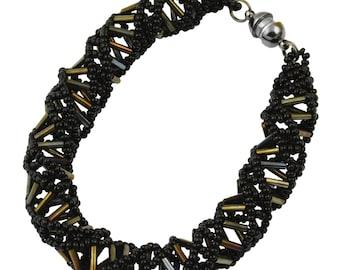 """DNA Black Beaded Bracelet - 9.5"""" Long"""