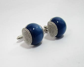 Swank blue moon stone Cuff Links in silver tone mount - 1960s