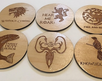 Game of Thrones Coasters - Laser Cut Linden Wood