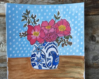 Original Watercolor Gouache Painting of Roses