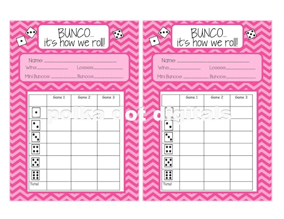 Sassy image with printable bunco sheets