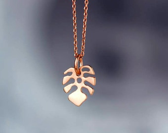 Leaf Necklace 14k solid Gold Monstera Pendant Tropical Mothers day Gift for Her birthday bridal Dainty anniversary 18k rose gold Plant lover