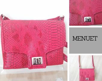 Minuet red croco satchel bag