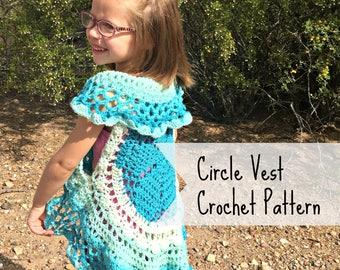 Circle Vest Crochet PATTERN - Crochet Top Pattern - Girls Accessories - Crochet Pattern - Caron Cake Pattern - Mandala Vest Pattern
