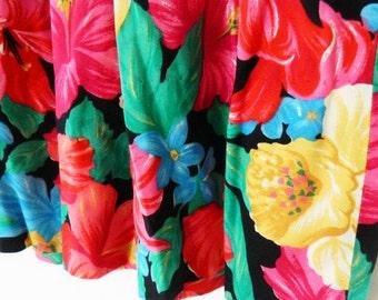 Vintage Tropical Resort Floral Skirt/ Bright Pleated Midi Skirt/ High Waisted Summer Skirt/ Size Large