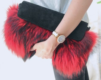 Red fur clutch Real fur bag  Clutch bag Fur purse Evening fur clutch Gift for her  Valentine's gift gift for woman